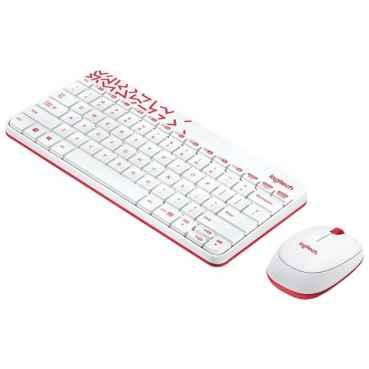Клавиатура и мышь Logitech MK240 Nano White-Red USB
