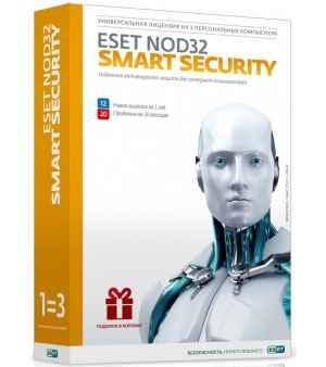 Антивирус ESET NOD32 Smart Security лицензия на 3 ПК на 1 год